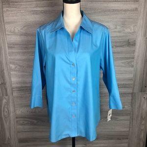 + Size Foxcroft Blue Button Down Shirt Size 16W